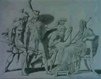 trois gaulois faisant face...[verso: un etude de gaulois;med: craie noire, w/plume, encre & lavis de gris] by armand charles caraffe